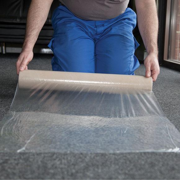 Clear Polythene Carpet Protector Film Self Adhesive 10m X